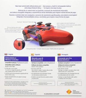 Dualshock 4 V2 Mando Inalámbrico, Color Rojo (Magma Red) (PS4)
